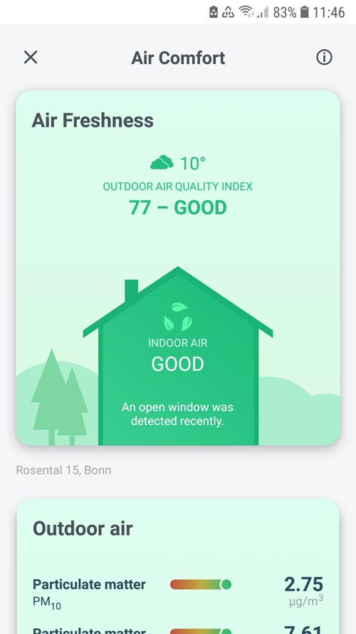 tado° App - Overview of the fresh air indicator for indoor and outdoor air
