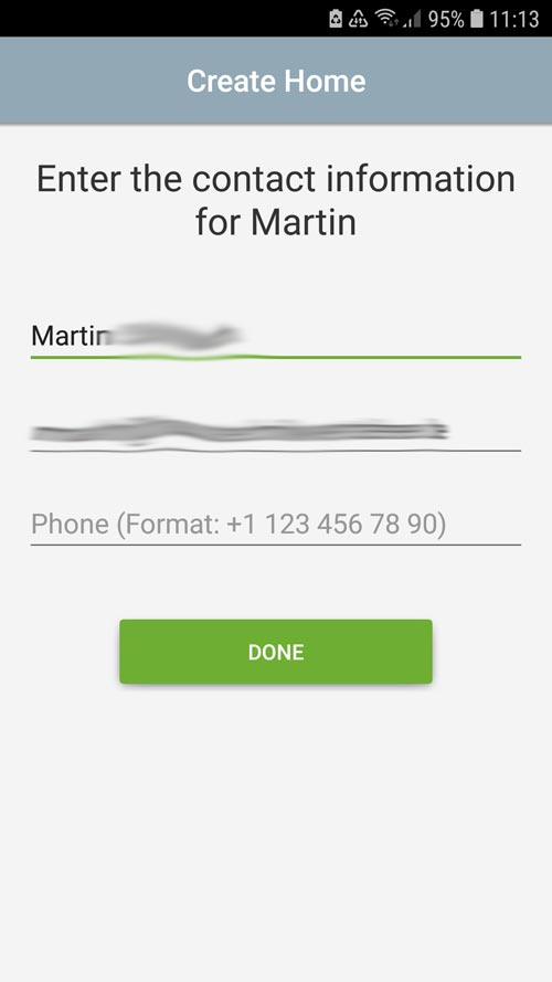 tado° App Confirm contact details