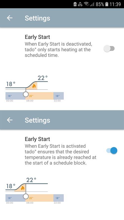 """tado° App - Settings """"Home"""" Easy Start"""