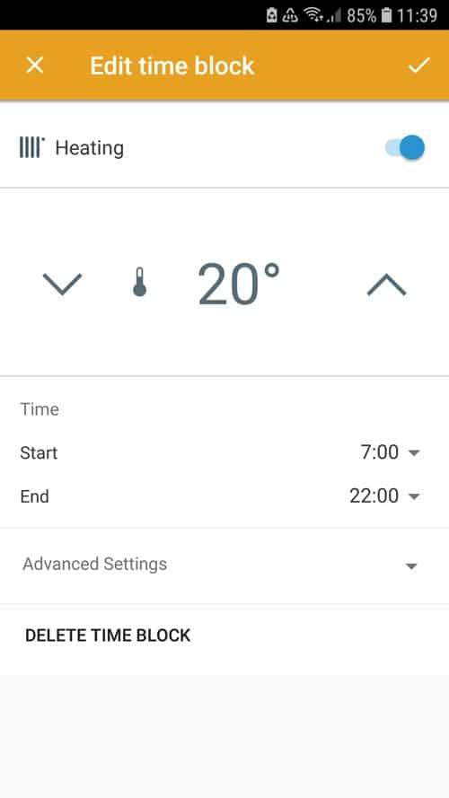 tado° App - Set time blocks
