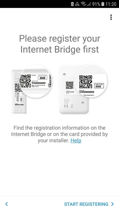 tado° App prompt to install the Internet Bridge