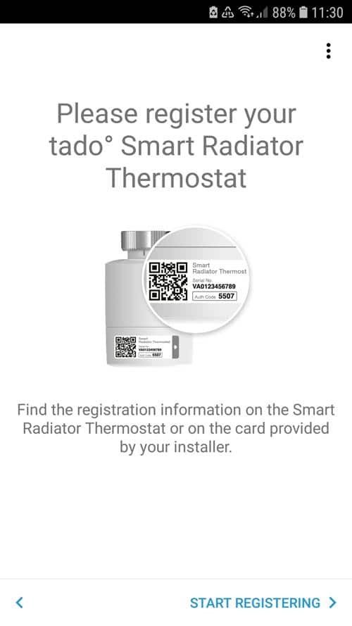 Registration of the tado° thermostat