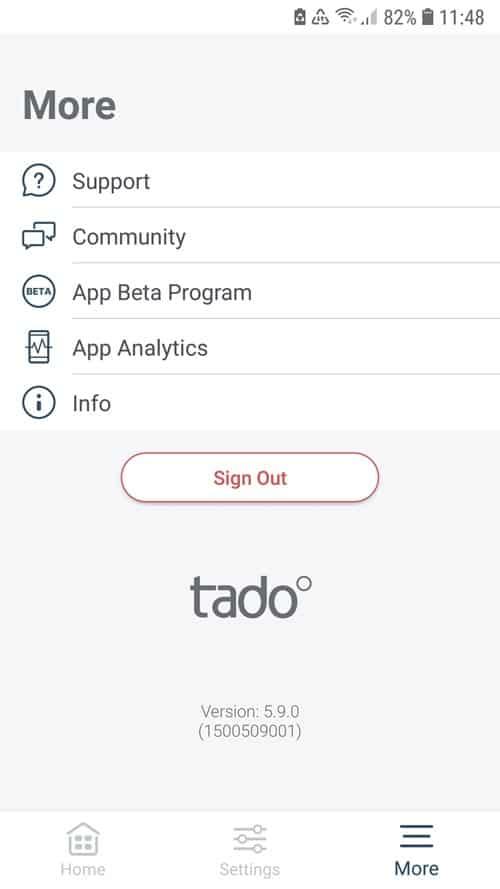 """tado° App - Overview """"More"""