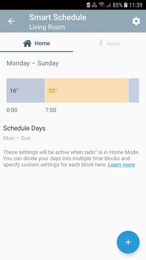 "tado° App - Settings ""Home"" smart schedule"