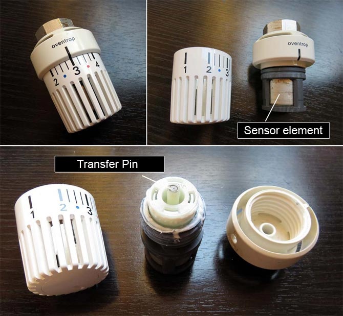 Components of a thermostatic head