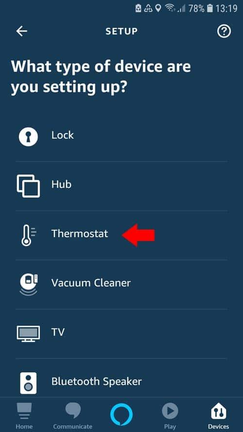 Alexa App - tado° Select thermostat