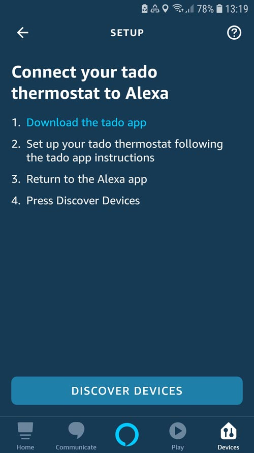 Alexa App - tado° Skill must be searched and connected