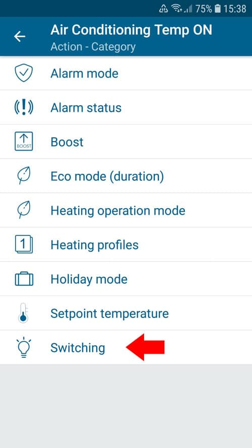 """portable air conditioner - Homematic IP - Automation - Action """"Switching"""""""