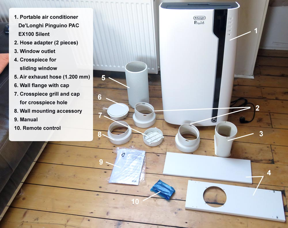 Scope of delivery De'Longhi Pinguino PAC EX100 Silent portable air conditioner