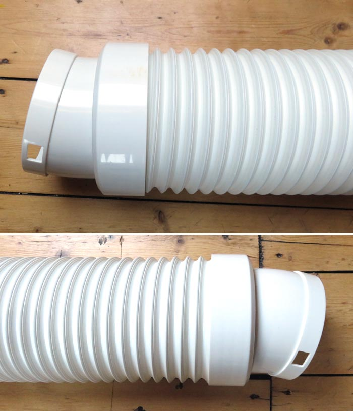 Preparing the exhaust air hose for portable air conditioner