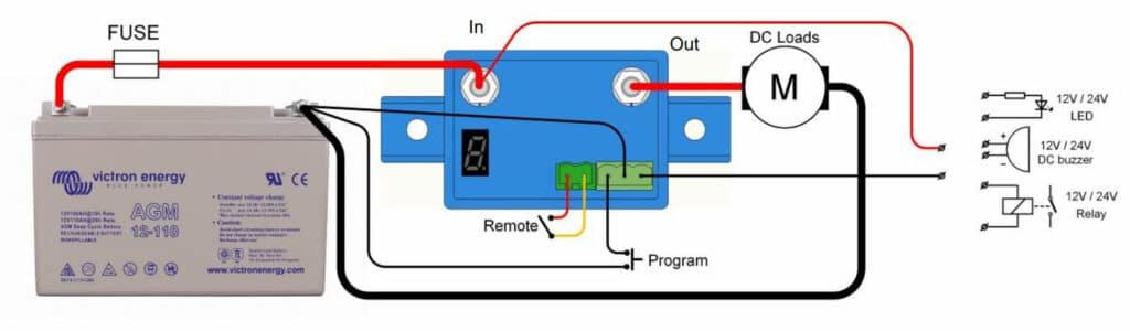 Figure 12: Battery Protect BP 65 - Circuit diagram - Source: Victron Energy