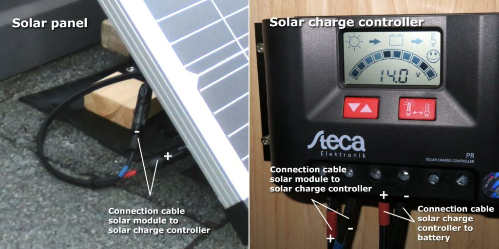 Figure 16: Solar set cable assembly to solar charge controller and solar module