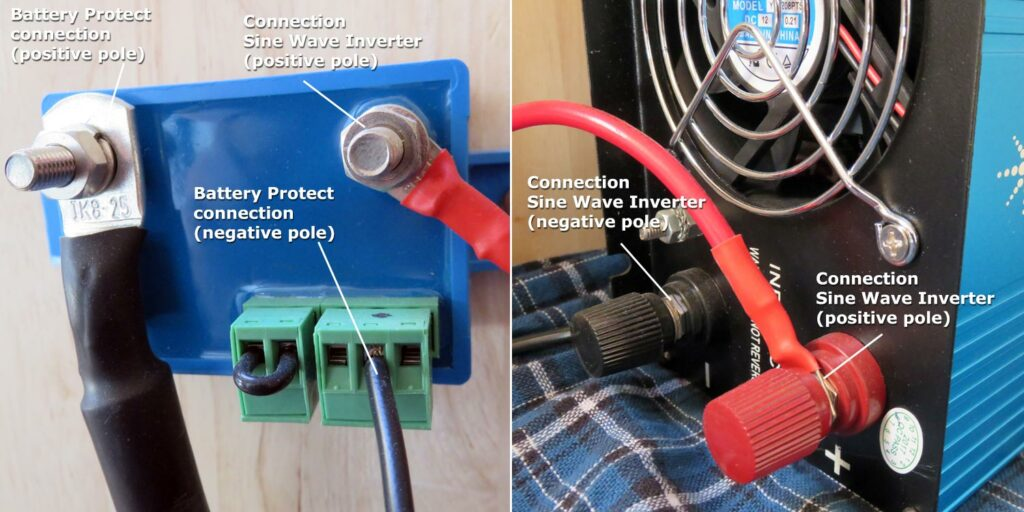 Figure 17: Solar Set cable assembly to Battery Protect and sine wave inverter