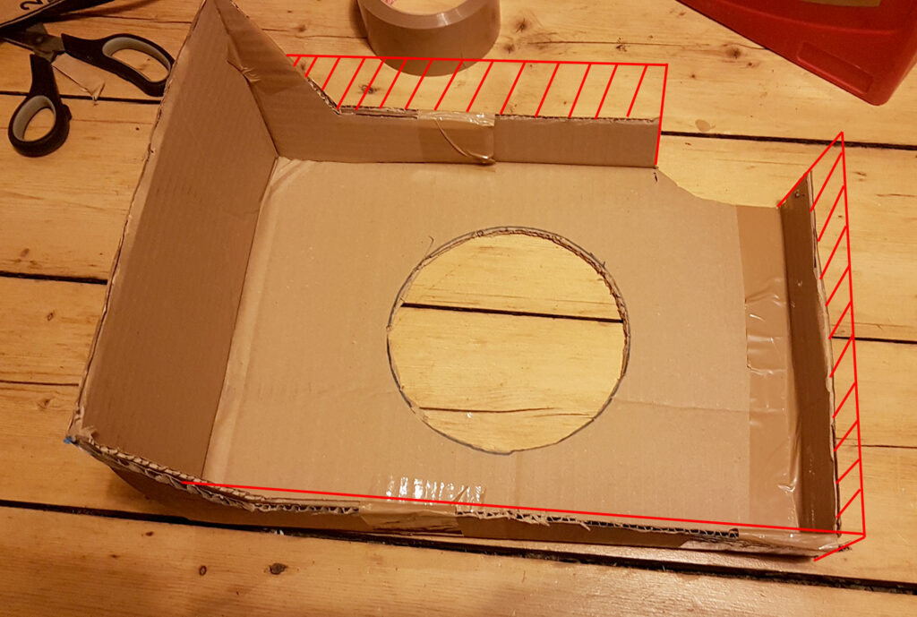 Modification of portable air conditioner to two-hose technology - Cut and extend cardboard box