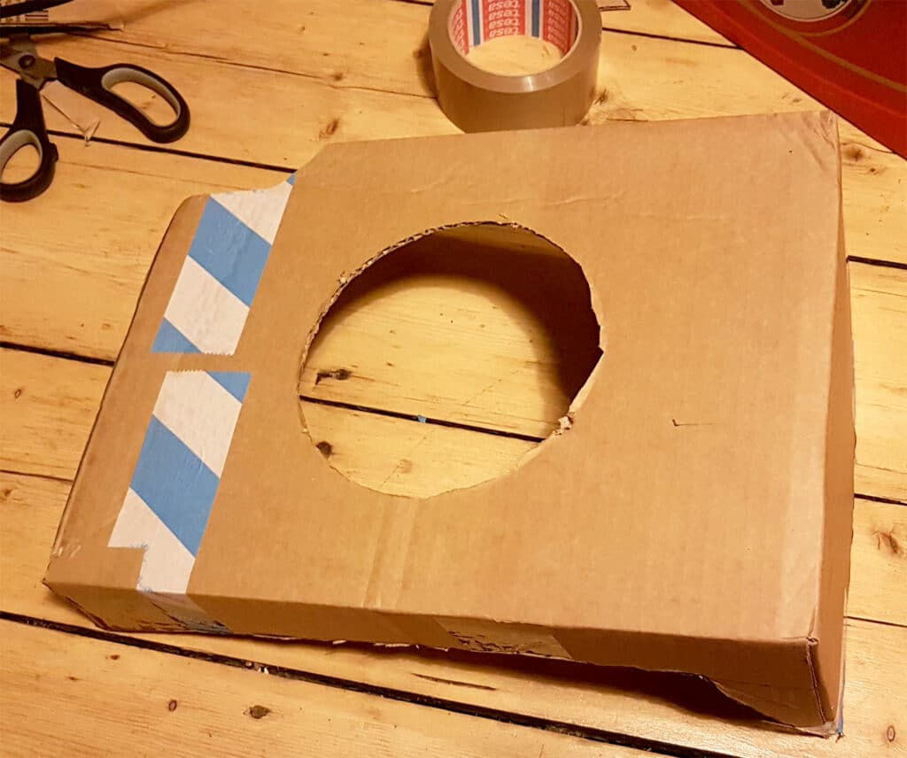 Modification of portable air conditioner to two-hose technology - Cut cardboard to size