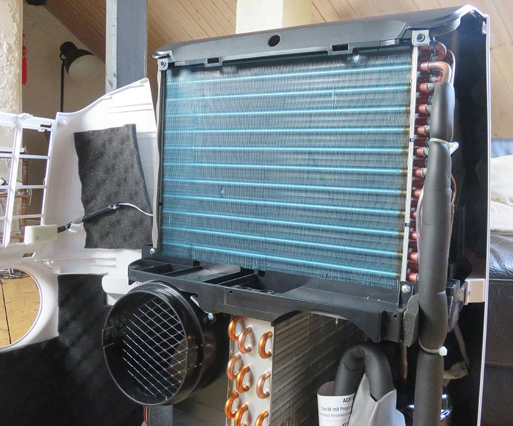 Portable air conditioner interior view: Evaporator De'Longhi Pinguino PAC EX100 Silent